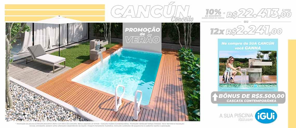 Promoção Cancún com Filtro Conceito e Cascata Contemporânea - 6,00 x 3,00 x 1,40m - iGUi  A Sua Piscina