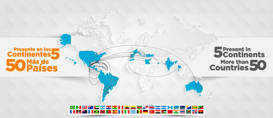 Países y Continentes presentes