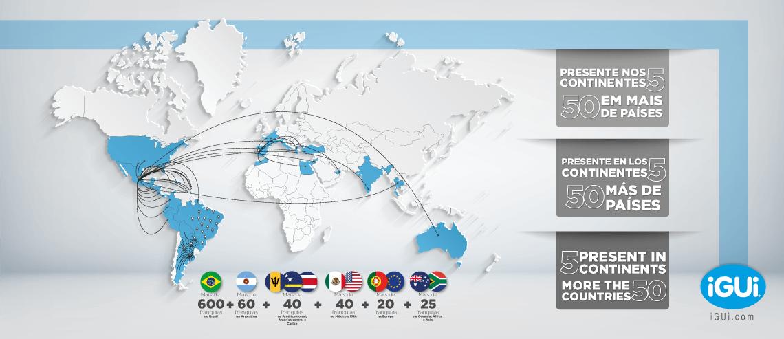 iGUi - presente nos 5 continentes, em mais de 50 paises