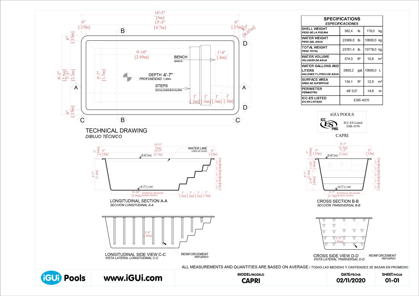 Technical drawing Capri (no scale)