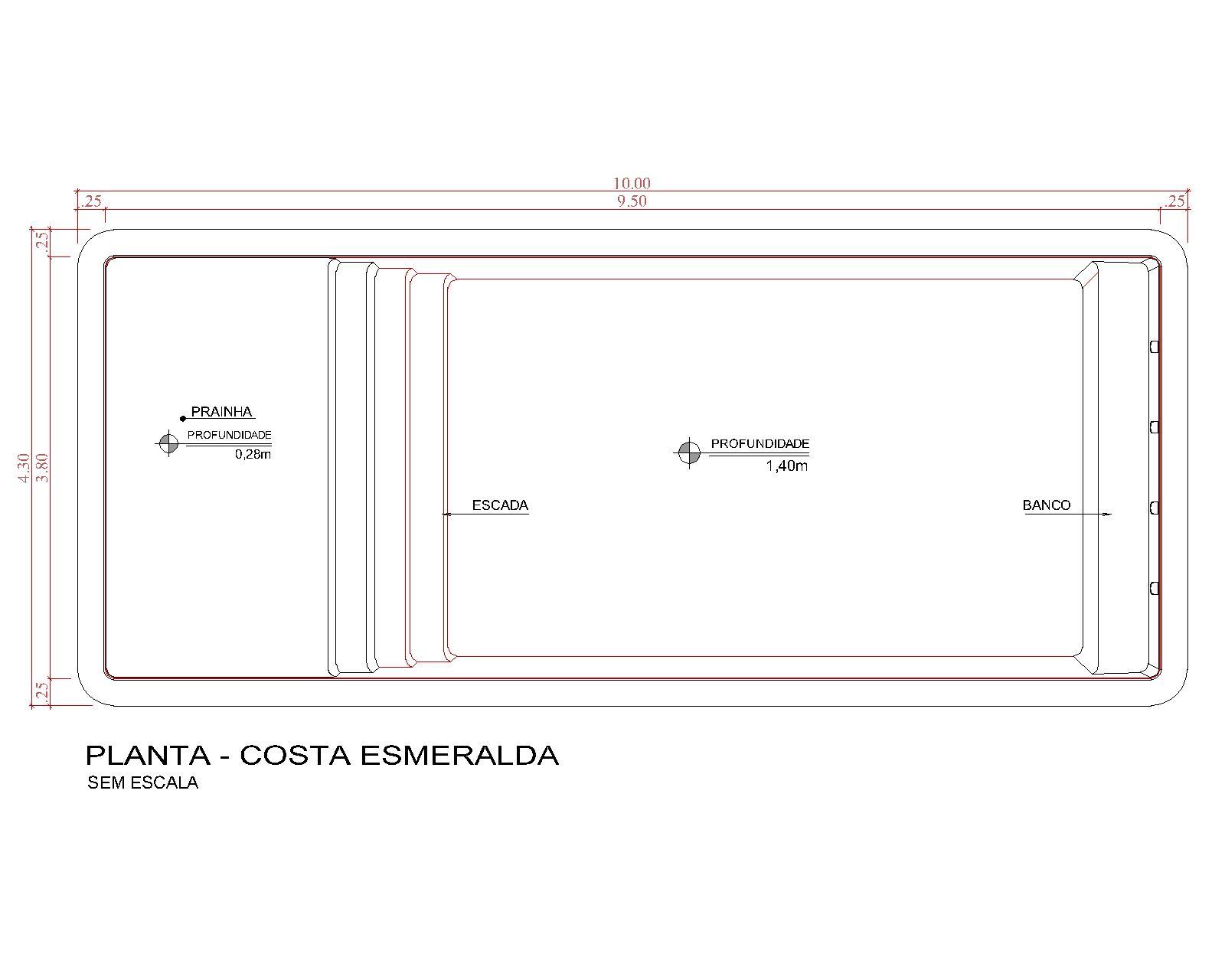 Desenho técnico Costa Esmeralda (sem escala)