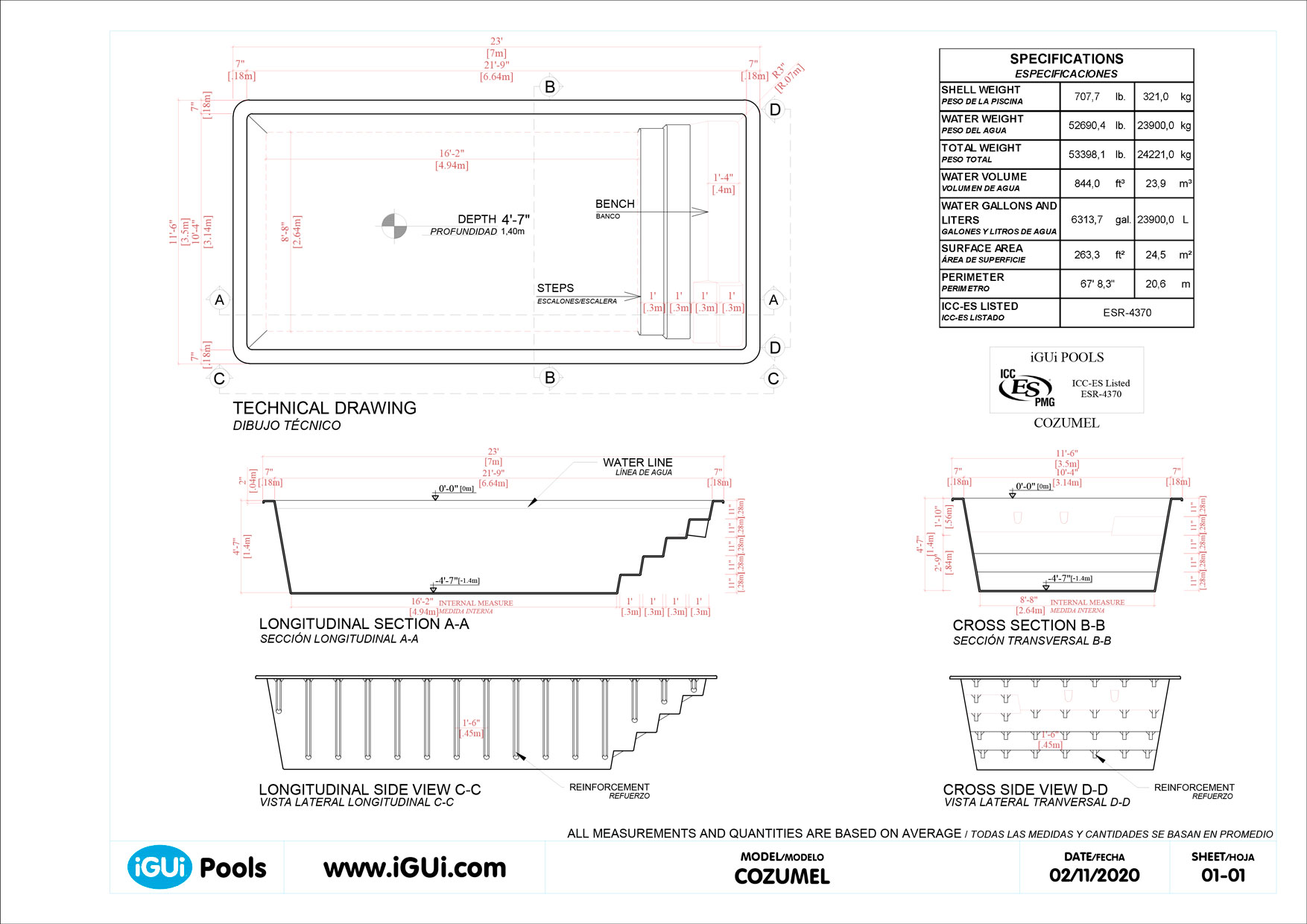 Technical drawing Cozumel (no scale)