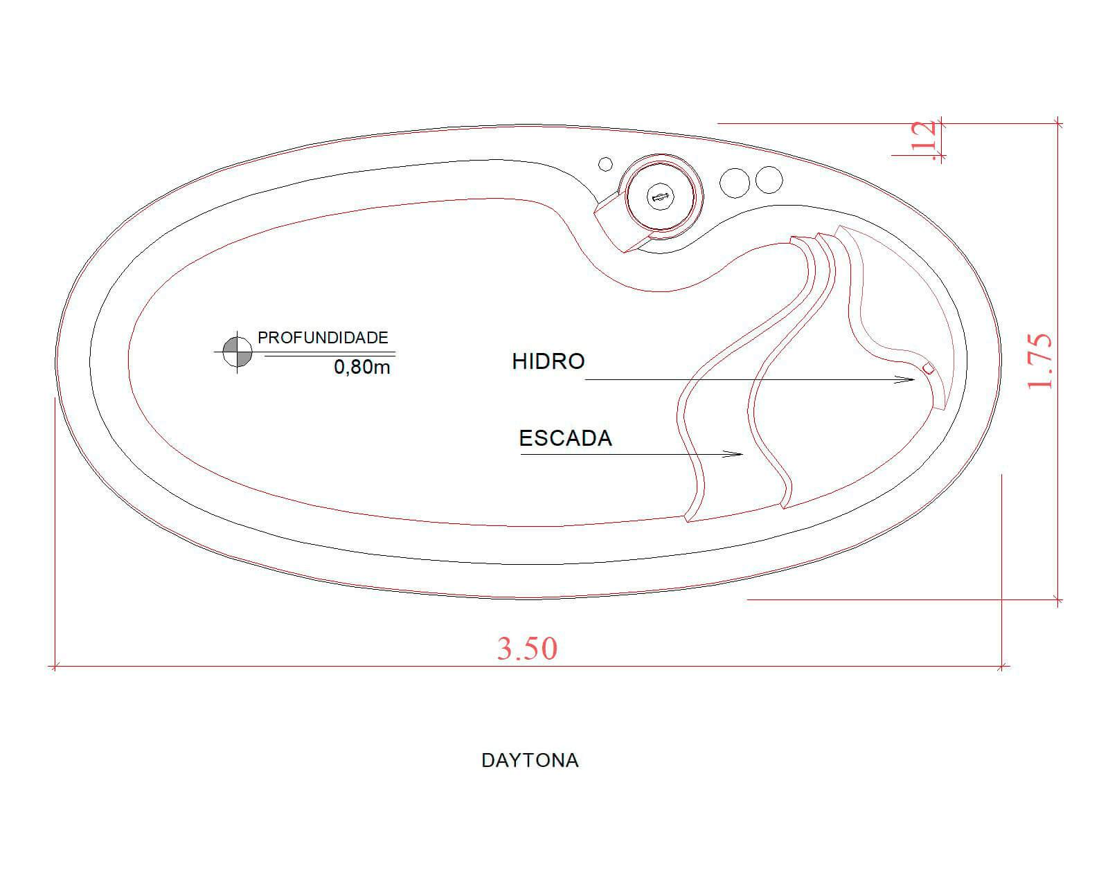 Desenho técnico Daytona (sem escala)