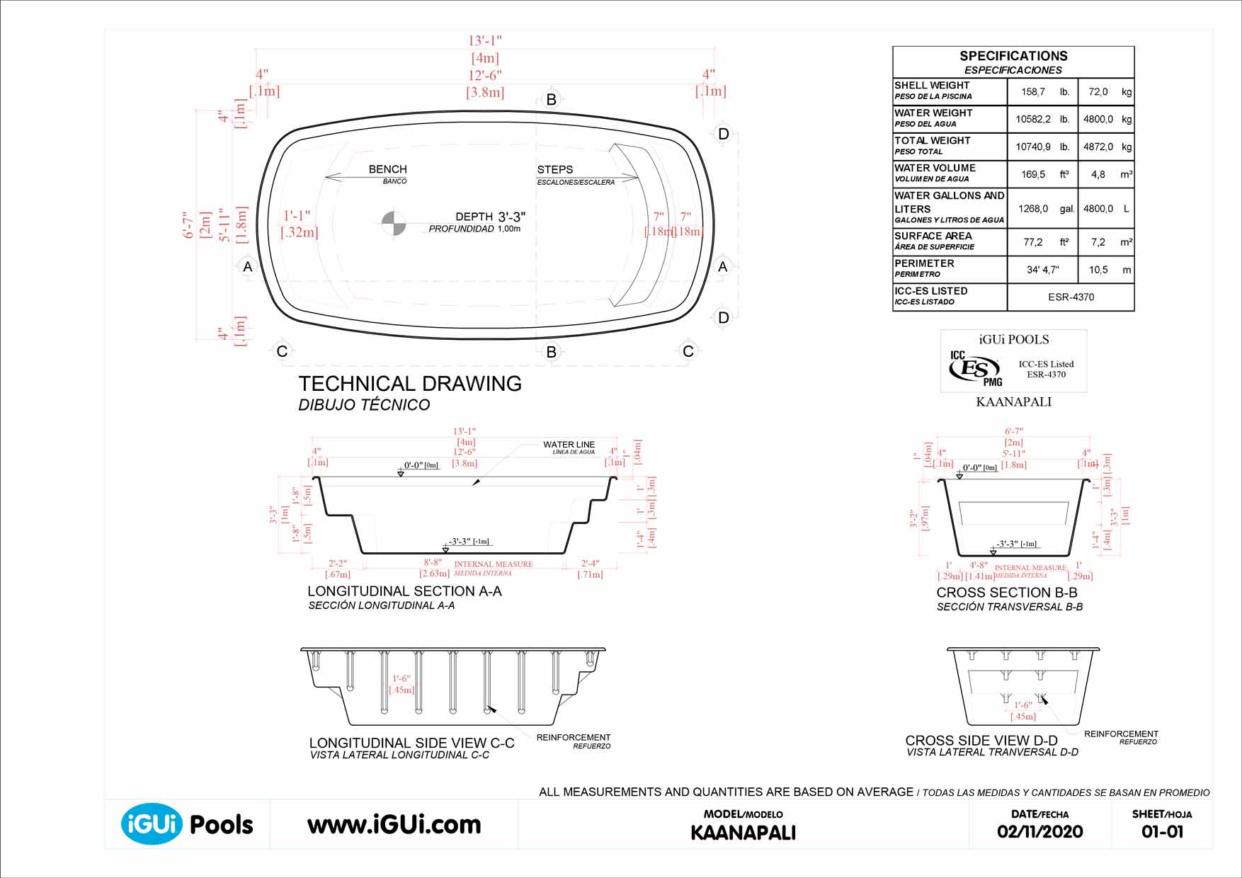 Technical drawing Kaanapali (no scale)