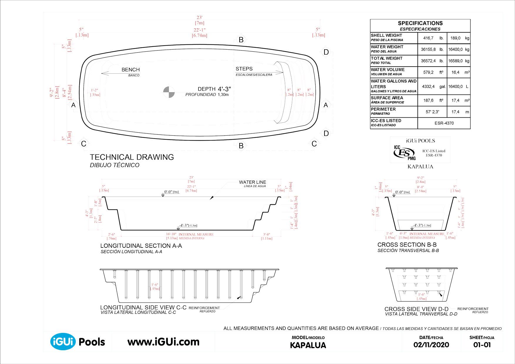 Dibujos técnicos Kapalua (sin escala)