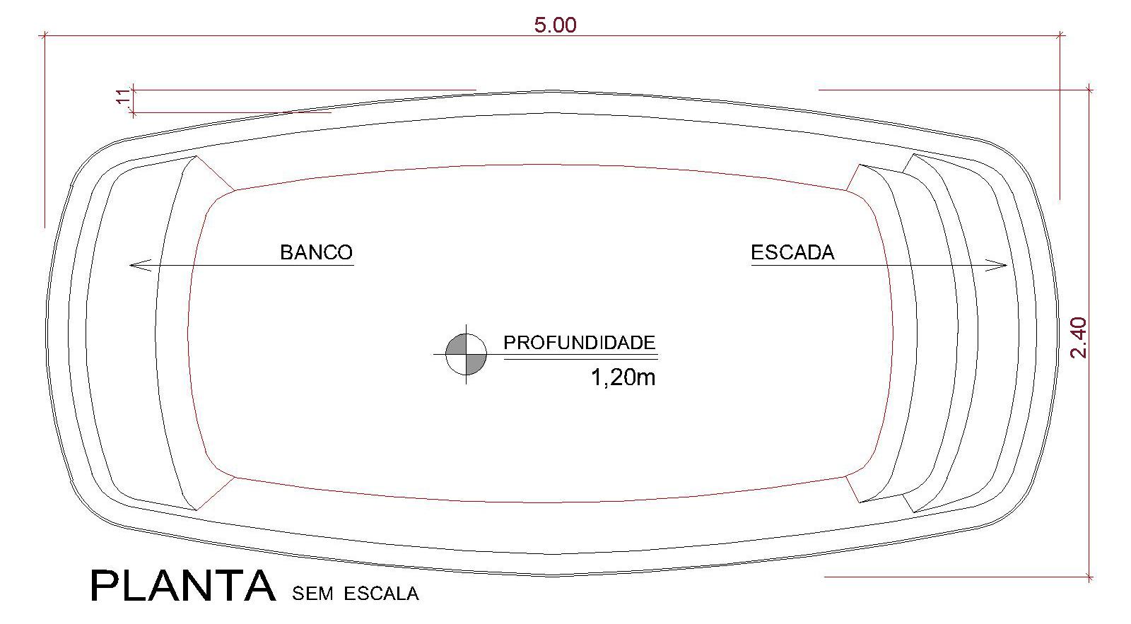 Desenho técnico Ke'e (sem escala)