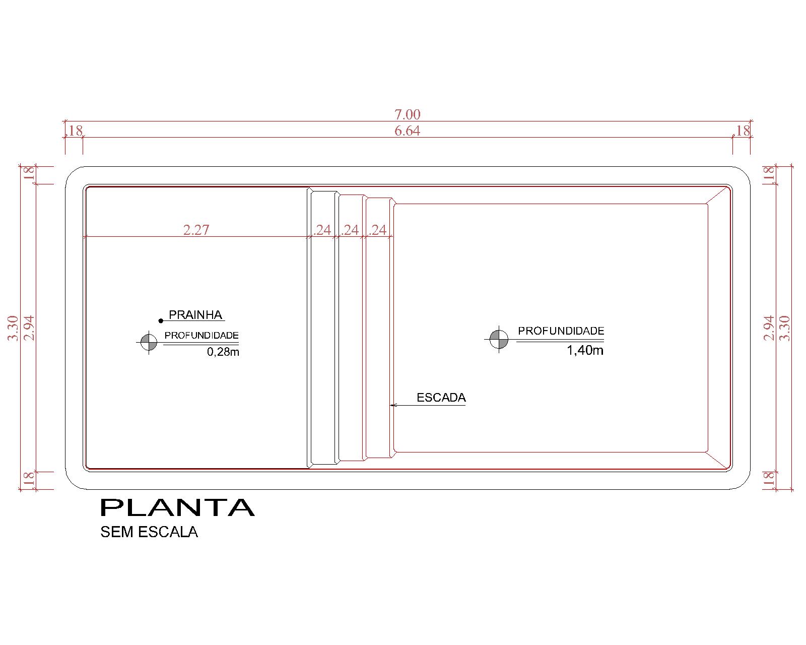 Desenho técnico Playa del Carmen (sem escala)