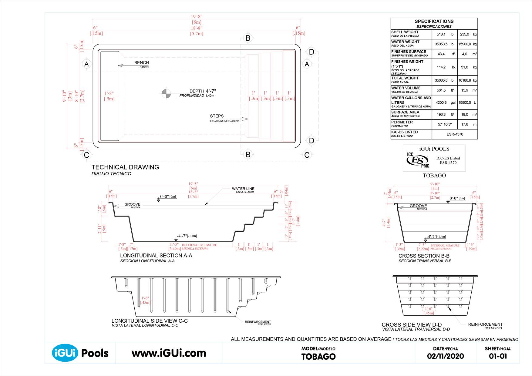 Dibujos técnicos Tobago (sin escala)