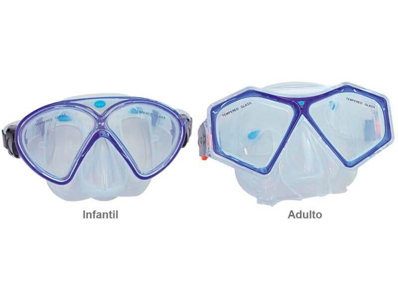 máscara de mergulho com snorkel adulto e infantil