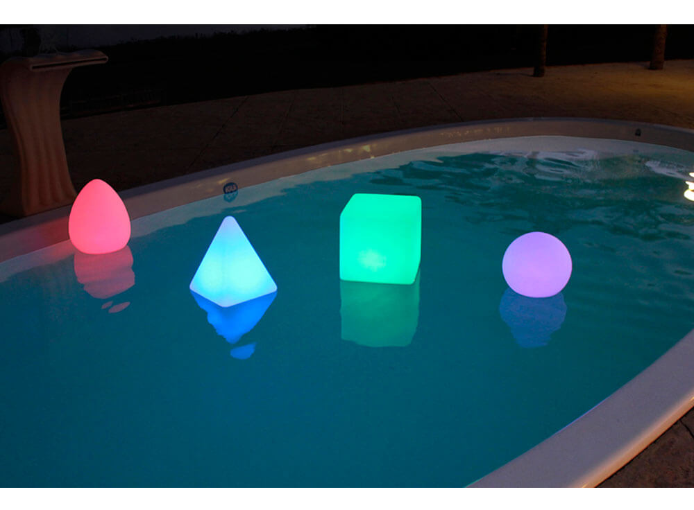 iGUiLux Abajur decoração iluminação piscinas jardins iluminação led subaquatica cone piramide cubo esfera komodo branca