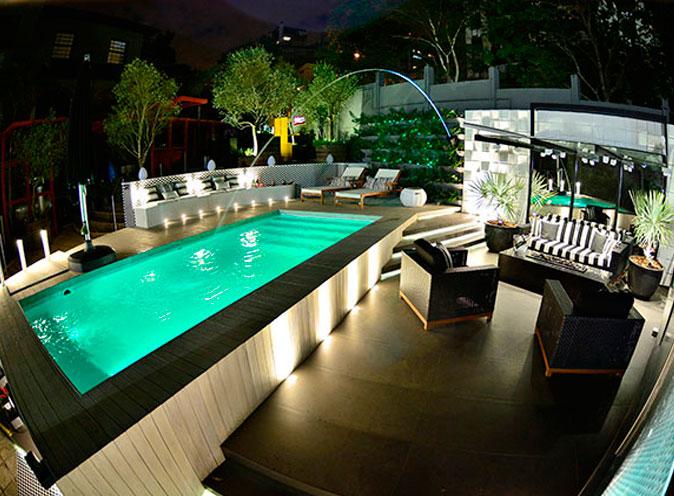iGUiLux Dual Color RGB iluminação subaquatica led cores efeitos azul claro piscina pastilhada casa cor
