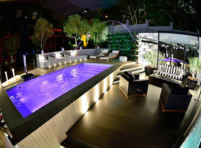 iGUiLux Dual Color RGB iluminação subaquatica led cores efeitos roxo piscina pastilhada casa cor