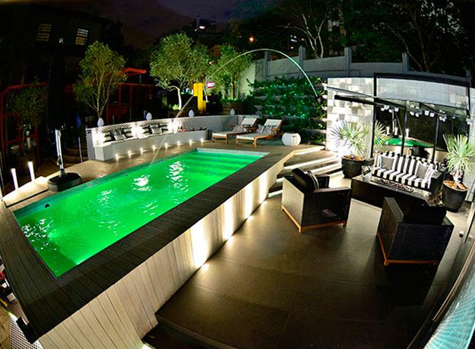 iGUiLux Dual Color RGB iluminação subaquatica led cores efeitos verde piscina pastilhada casa cor