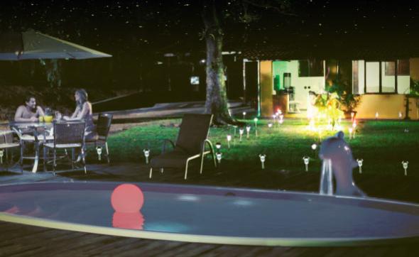 iGUiLux Solar iluminação led jardins piscinas lazer solar economico sem fio