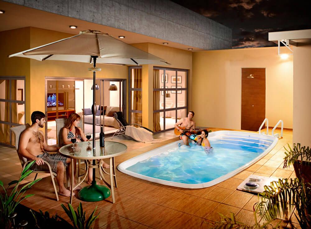 Conjunto Arena lazer jardim moveis piscina waikiki branca base eden ombrelone sombreiro