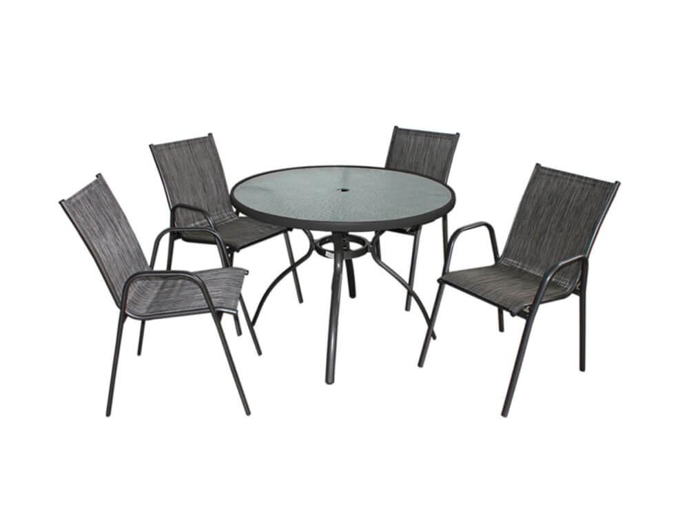Conjunto Gris mesa cadeiras jardim lazer piscina moveis ambiente