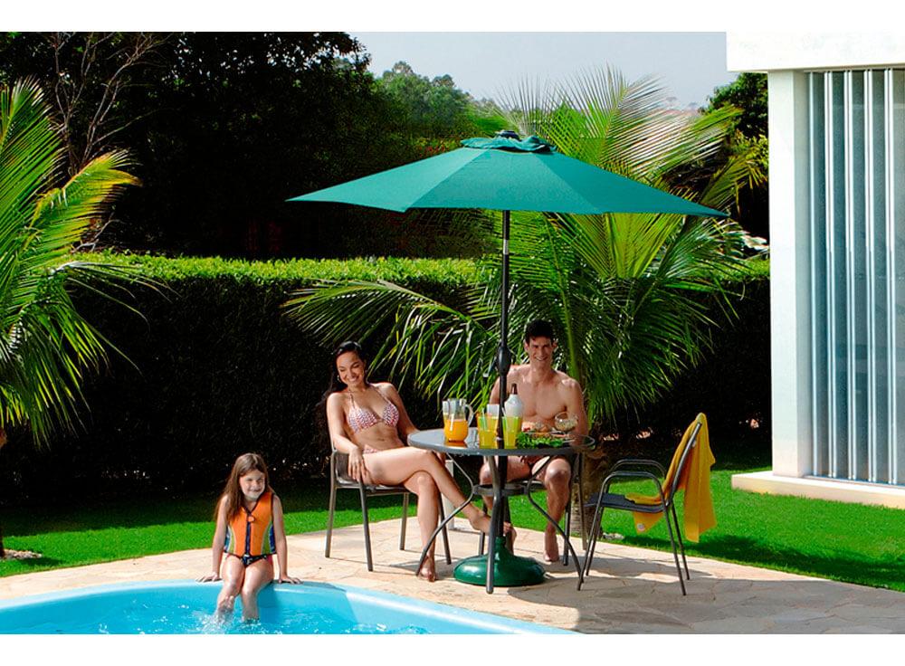 Conjunto Gris mesa cadeiras jardim lazer piscina moveis ambiente ombrelone sombreiro base eden verde