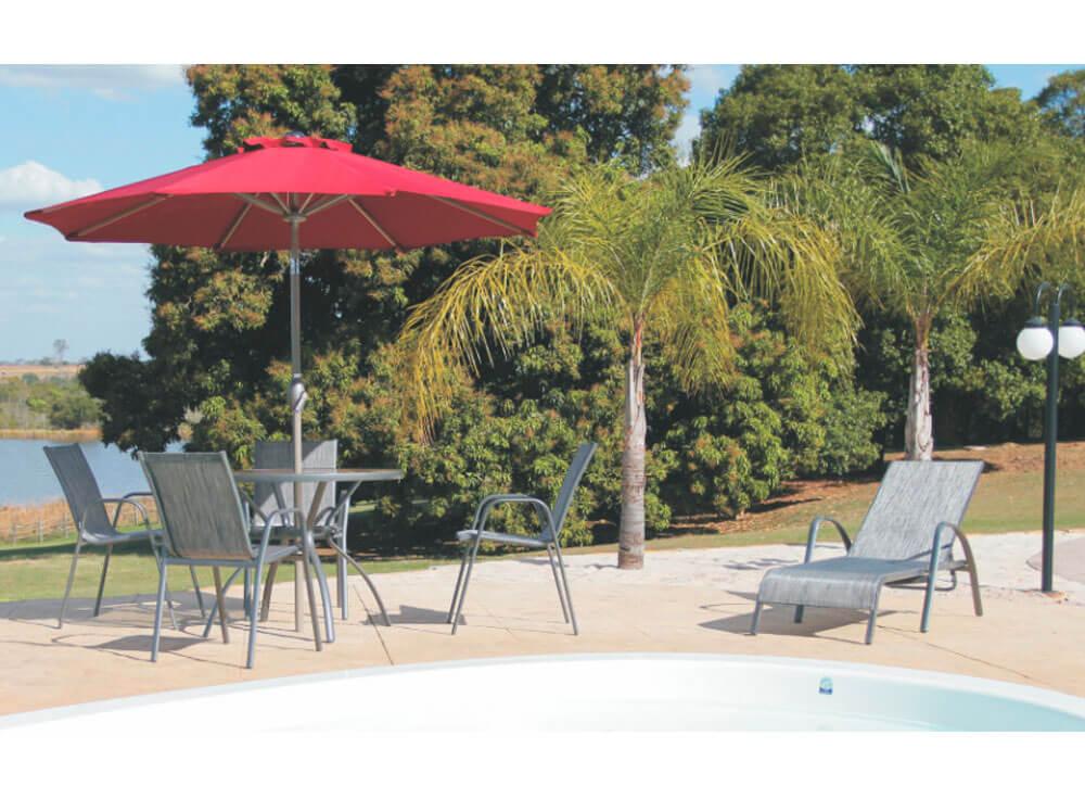Conjunto Gris mesa cadeiras jardim lazer piscina moveis ambiente ombrelone sombreiro base eden bordo