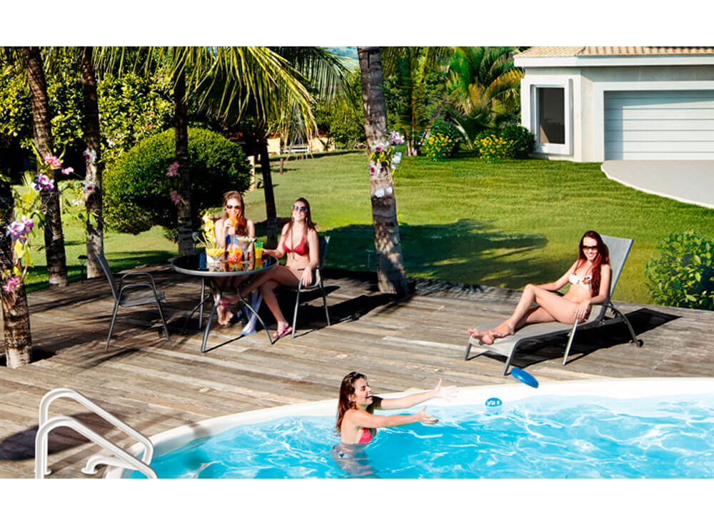 Conjunto Gris mesa cadeiras jardim lazer piscina moveis ambiente rocas branca