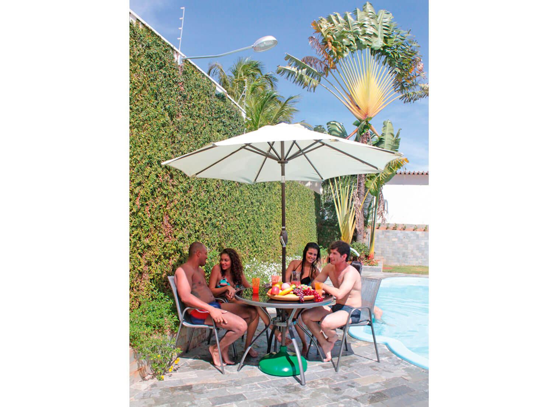 Conjunto Gris mesa cadeiras jardim lazer piscina moveis ambiente ombrelone sombreiro base eden bege
