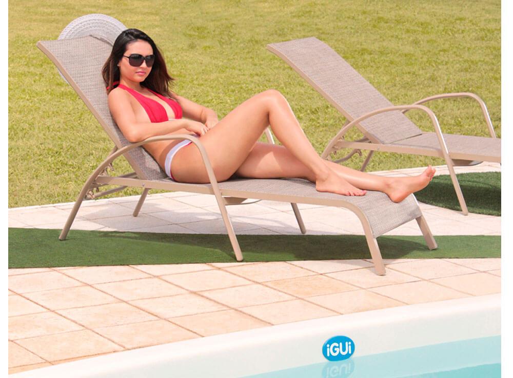 Espreguiçadeira Arena moveis piscina lazer jardim fiji branca