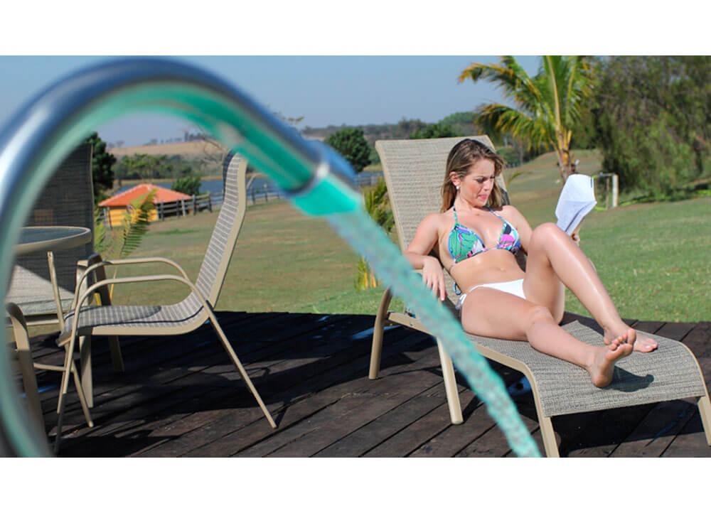 Espreguiçadeira Arena moveis piscina lazer jardim hidrojato inox