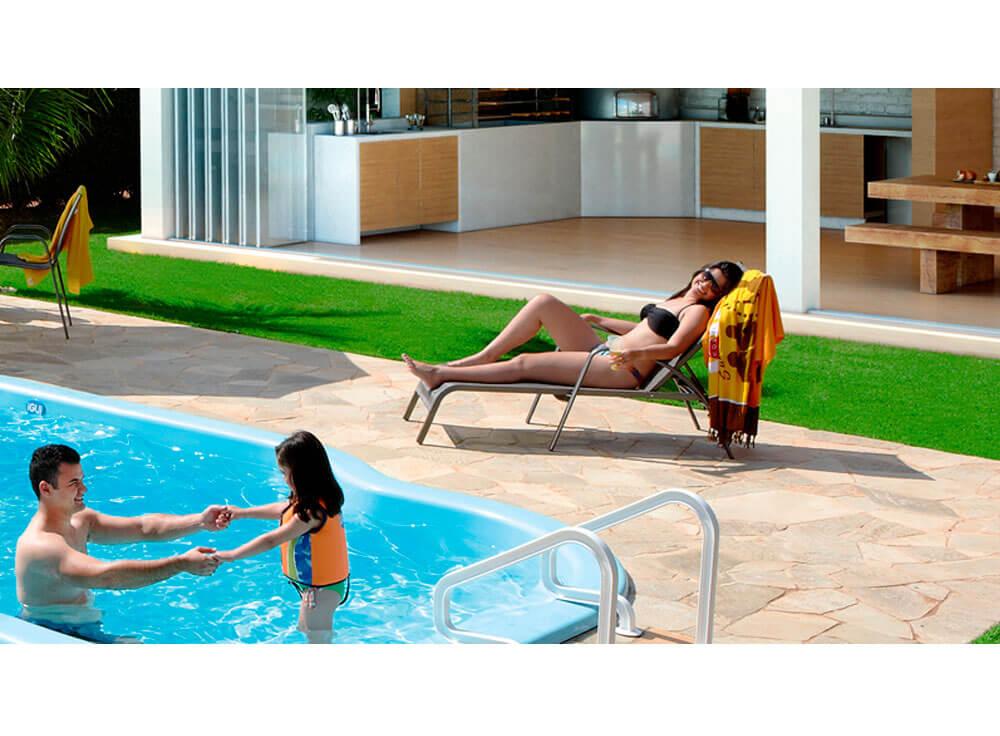 Espreguiçadeira Gris moveis piscina lazer jardim armação azul