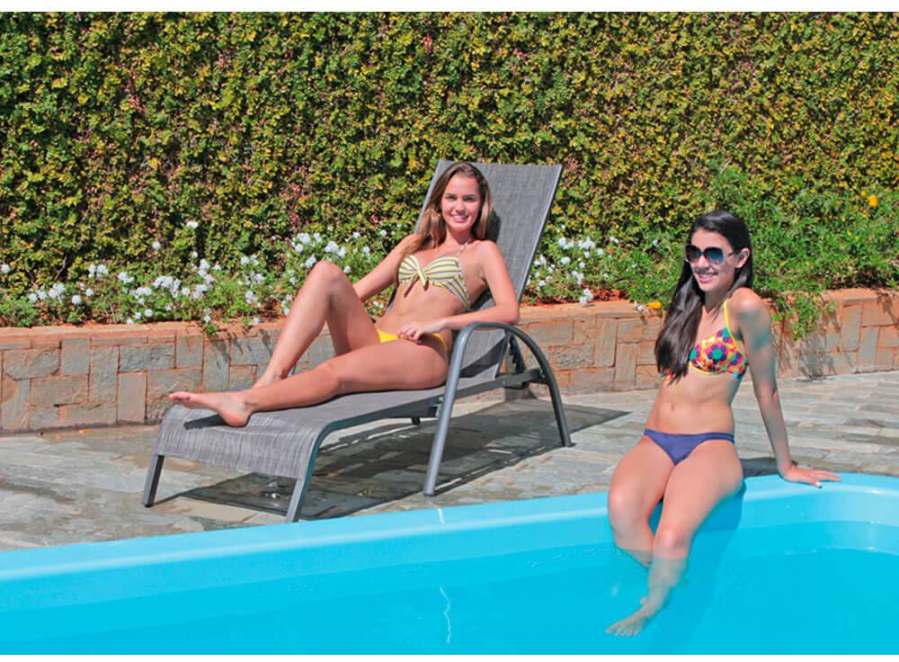 Espreguiçadeira Gris moveis piscina lazer jardim farol da barra azul
