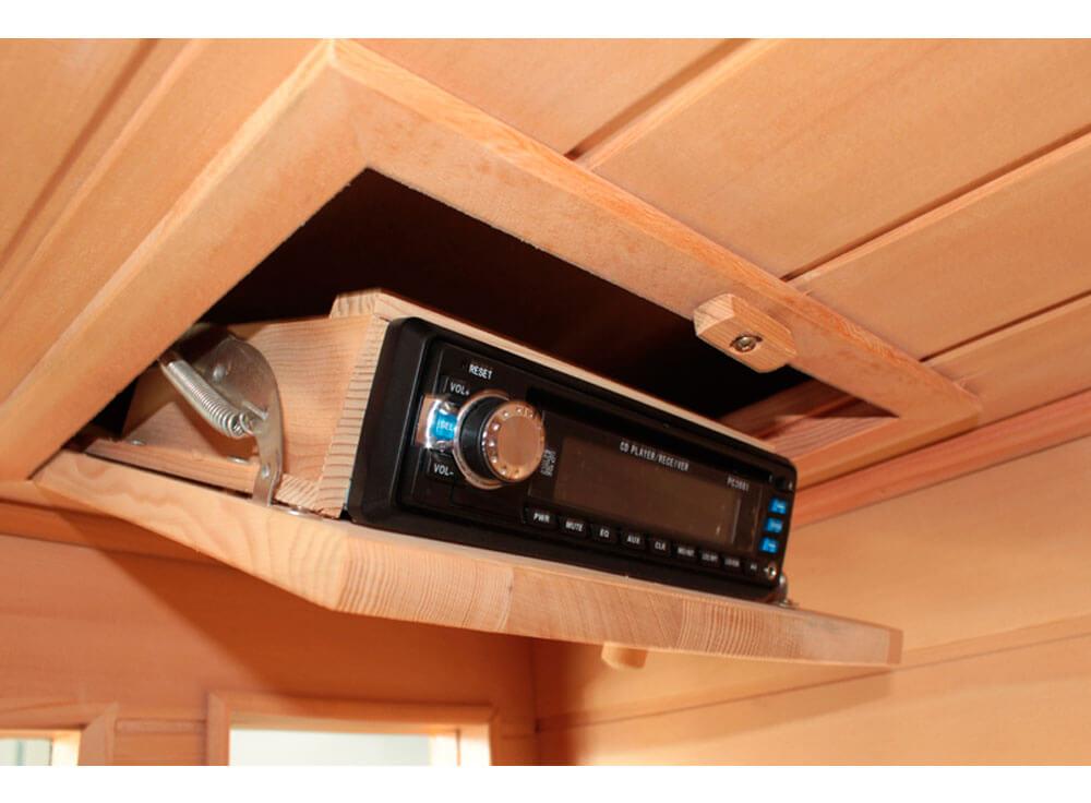 Sauna Seca Canadá relaxante madeira canadense saude beneficios lazer detalhe radio