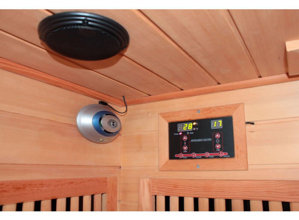 Sauna Seca Canadá relaxante madeira canadense saude beneficios lazer detalhe som interno