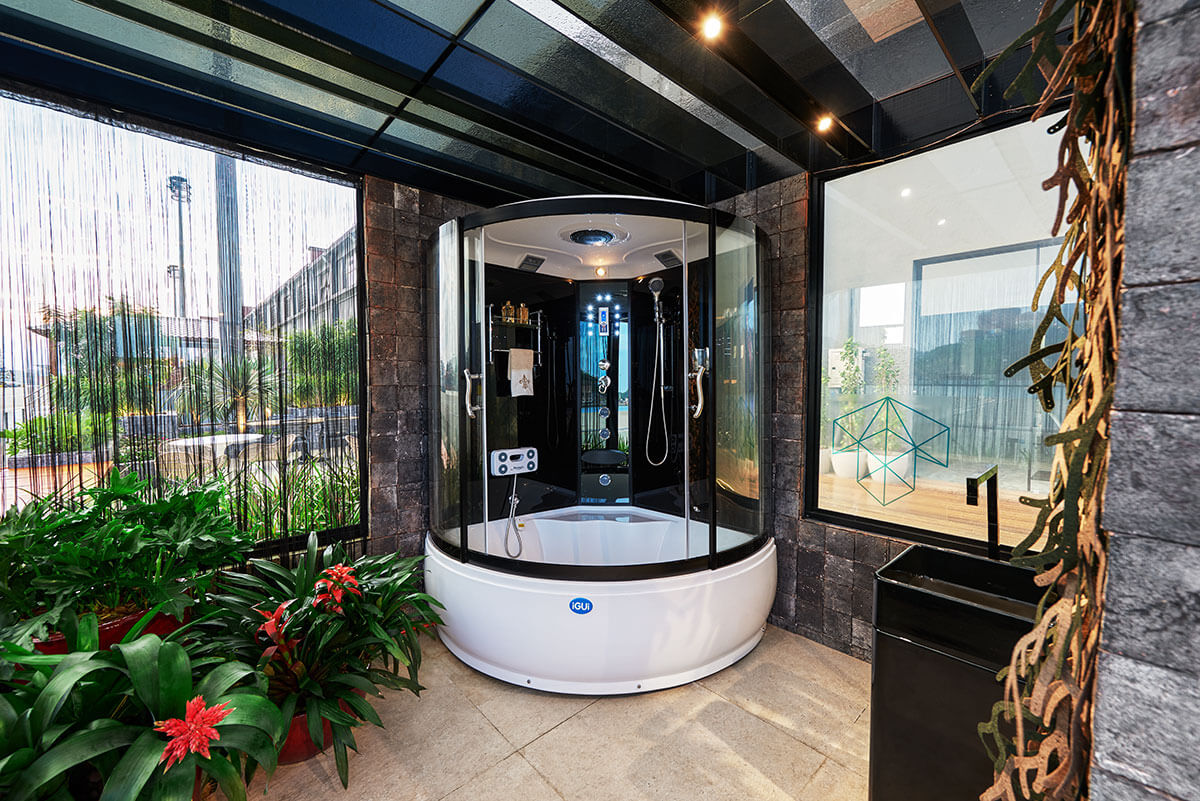 Sauna Vapor Club saude beleza relaxamento foto detalhe massageador pes