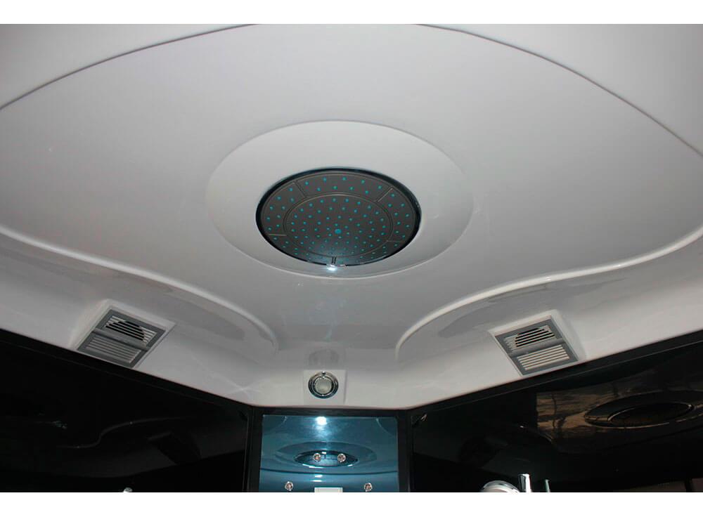 Sauna Vapor Club saude beleza relaxamento foto detalhe chuveiro iluminação led teto