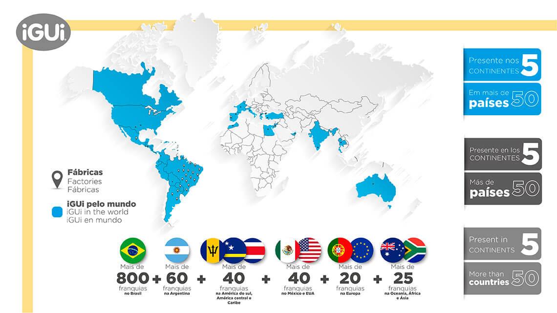 Mapa da iGUi no 5 contimentes e em mais de 52 paises