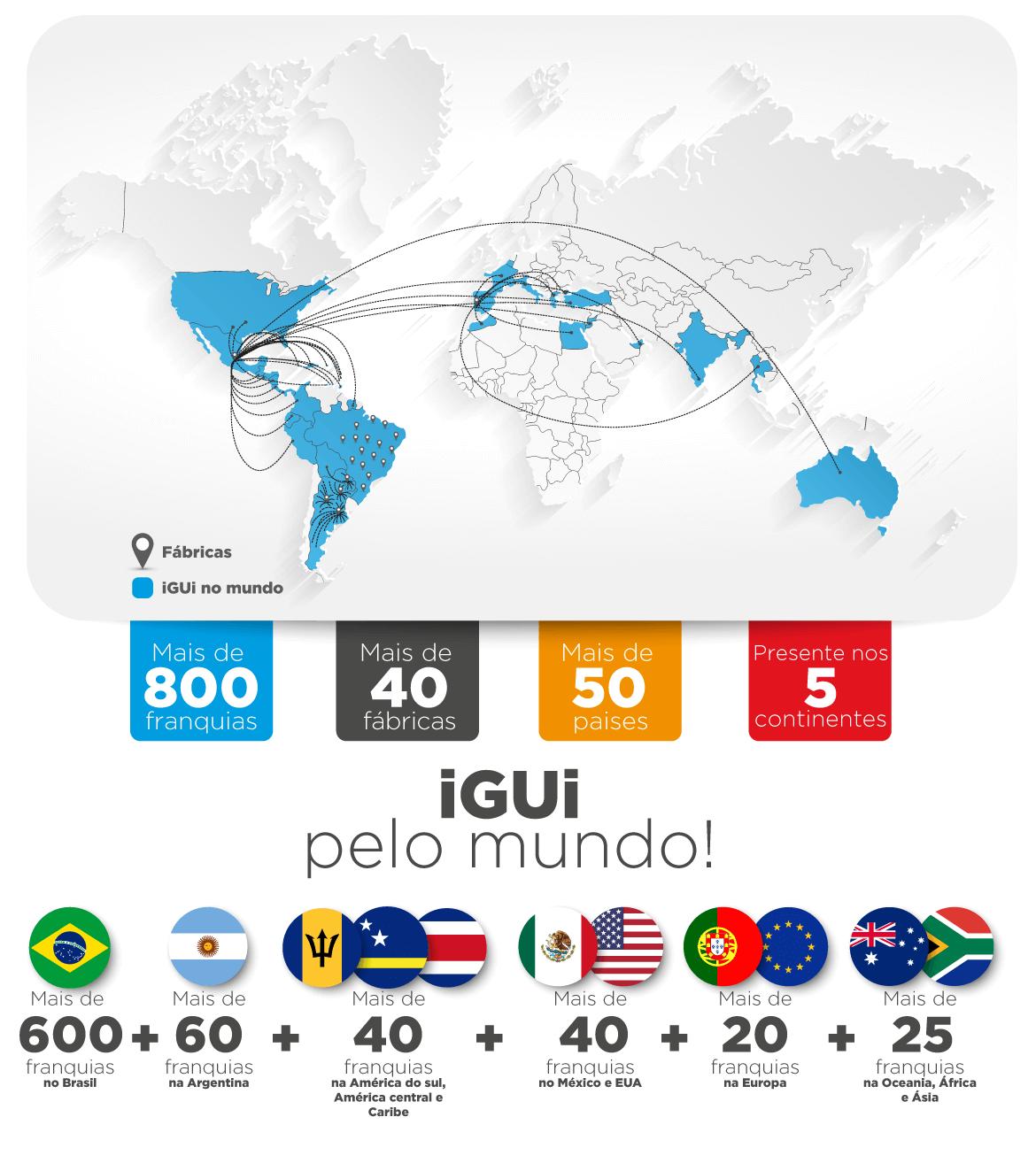 Mapa Franquias e Fábricas iGUi no Mundo